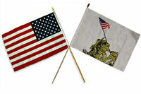 12x18 12x18 Wholesale Combo Usa American & Battle Iwo Jima Stick Flag