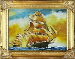 Painting-Oil-Painting-Picture-Oil-Frame-Pictures-Sea-Ships-Oil-Painting-G02187