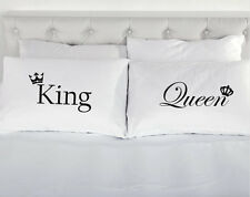 King Queen Crown pair of printed pillow cases Wedding present Valentines couple