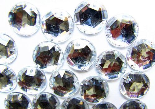 120 Crystal Clear 15 mm Round Acrylic Rhinestone Gem Flatback SewOn Faceted Bead