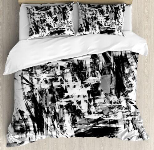 Black and White Duvet Cover Set with Pillow Shams Grunge Artwork Print