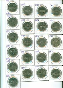 NICE-Set-of-21-Canada-Nickel-Dollars-1968-to-1986-With-Commems