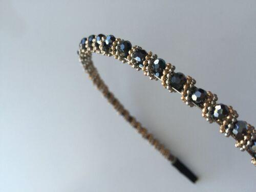 Women Girls Beads navy black school Crystal Bling shiny Party Hair band Headband