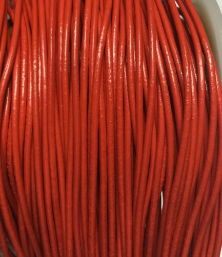 5 Yards Genuine Leather Cord Round Red Size 2mm Jewelry Supplies
