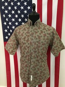 vtg-Hipster-All-Over-Print-Beige-Shirt-men-039-s-MEDIUM-boho-bohemian-kramer-17731