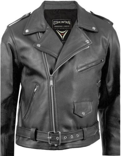 Skintan Mens Leather Cowhide Motorcycle Touring Jacket Highway
