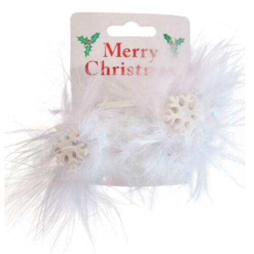 Pair of Christmas Motif Feathers Hair Bendies Sleepie Clips Holly Bells Reindeer
