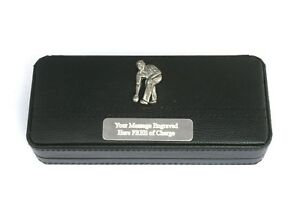 Amical Bowler Pewter Black Ball Point Pens In Gift Case Free Engraving Sports Gift 039