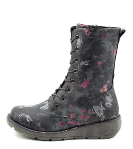 Heavenly Feet NEW Martina black floral VEGAN lace up wedge comfort boots 3-8