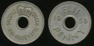 Fiji-Republic-British-Administration-1959-Penny-1d-Elizabeth-II-Extra-Fine