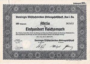 ungelocht Vereinigte Wäschefabriken AG Aue histor. Aktie 1941 + Kupons Sachsen