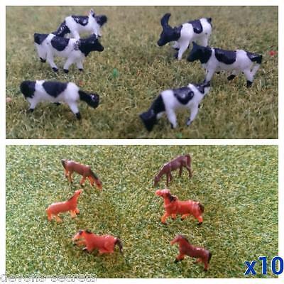 10 Animals Horse Or Cow Model Railway Train People Figures N Tt Gauge 7 13 Mm