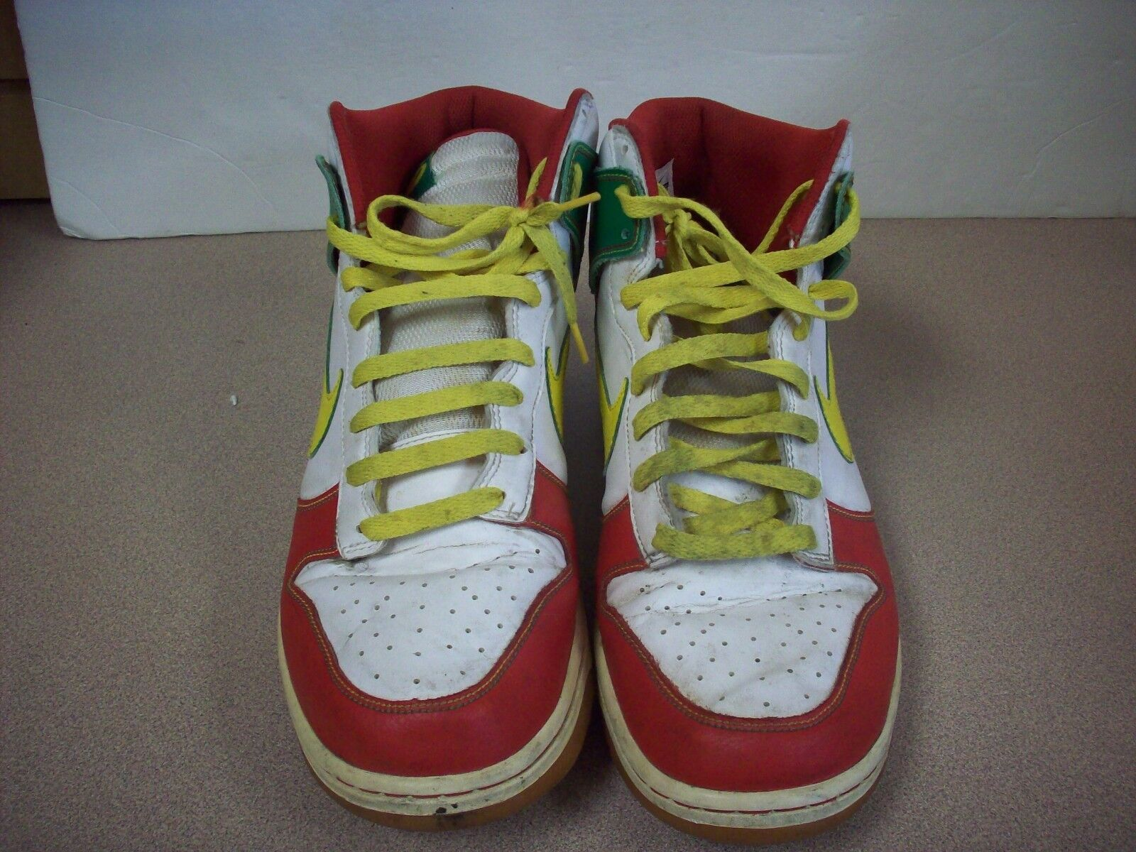 Nike Dunk High shoes, Size 12, Red  White  Yellow  Green