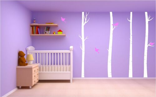 4 Huge Birch Trees With Birds Wall Art Sticker Decal Transfer Nature Mural