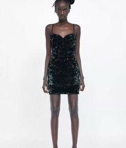 89719bb3 Image is loading Zara-Green-Sequin-Dress-SOLD-OUT-Size-M