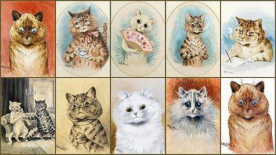 "SET OF TEN GRAPHICS POSTCARD SIZE 7""x5"" PRINTS - William WAIN Cats"