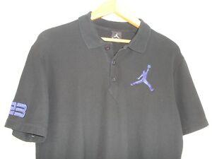 Nike-Air-Jordon-Jumpman-Men-039-s-Short-Sleeve-Polo-Shirt-Big-Logo-23-Black-M