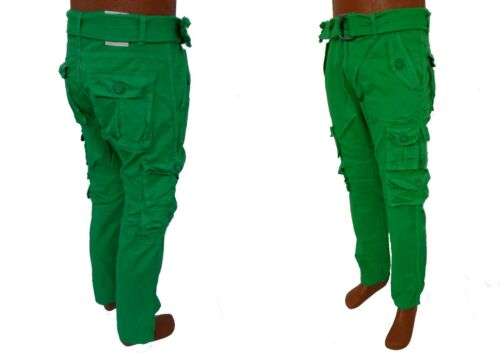 Men HALIFAX Blue Timber Green White Black Slim Straight Cargo Pants With Belt