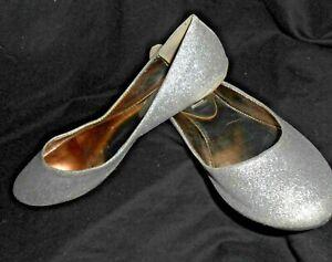 b855a76d135 Details about Steven Madden P-Heaven Silver Glitter Ballet Flats sz 7M
