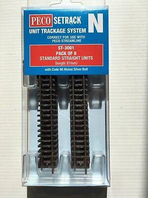 PECO ST-10  Power Track 87mm Pre-Wired Standard Straight Setrack N Gauge 1stPost