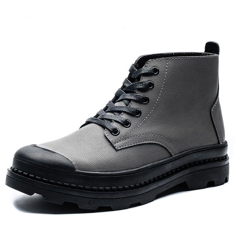 Para Hombre Otoño Invierno Martin botas Genuino Cuero Vaca Zapatos altos hasta el tobillo