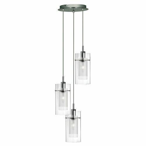 Moderne Kaskaden Pendelleuchte Chrom Glas klar 3x60W Hängelampe Pendellampe