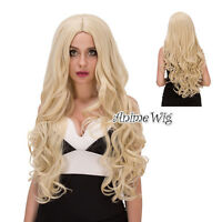 Light Blonde 80CM Long Curly Women Anime Heat Resistant Lolita Cosplay Hair Wig