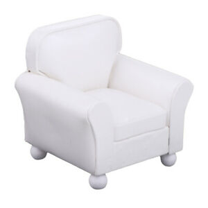 Details About 1 12 Leather Couch Single Sofa Chair Dollhouse Drawing Room Accessory White