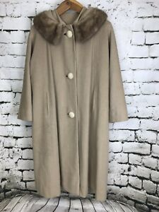 Bernhard-Altmann-Adoreme-Soft-Wool-Swing-Coat-Fur-Mink-Collar-Vintage-Size-10-12