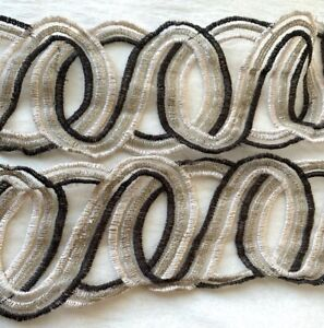 """Vintage 1960s Embroidered  Sheer Brown Champagne Pearl Silver 3"""" Trim"""