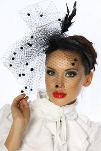 designer-minihut-fascinante-tul-vintage-Burlesco-MUJER-NEGRO