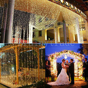300/900/1800 LED Outdoor Fairy Curtains String light for Xmas Wedding Party