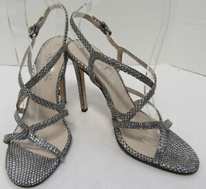 7338f00c981 Image is loading KORS-BY-MICHAEL-KORS-Silver-Embossed-Leather-Sandal-