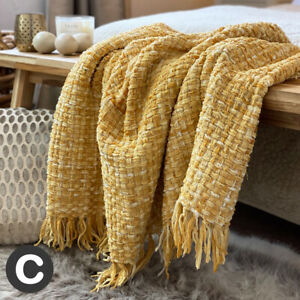 Luxury-Woollen-Touch-Ochre-Yellow-Mustard-Soft-Large-Blanket-Throw-Bed-Sofa