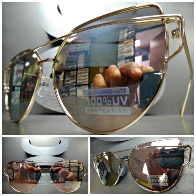 3002945b4f CLASSIC VINTAGE RETRO Style SUN GLASSES Rose Gold Frame - Flat Pink Mirror  Lens