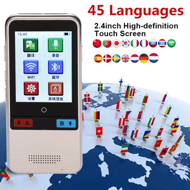 2 4'' Touch Screen WiFi Portable Smart Language Voice Translator 45  Languages