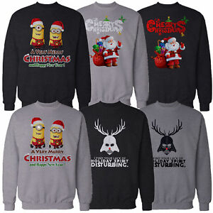 mens christmas sweatshirt xmas sweater pullover minions. Black Bedroom Furniture Sets. Home Design Ideas