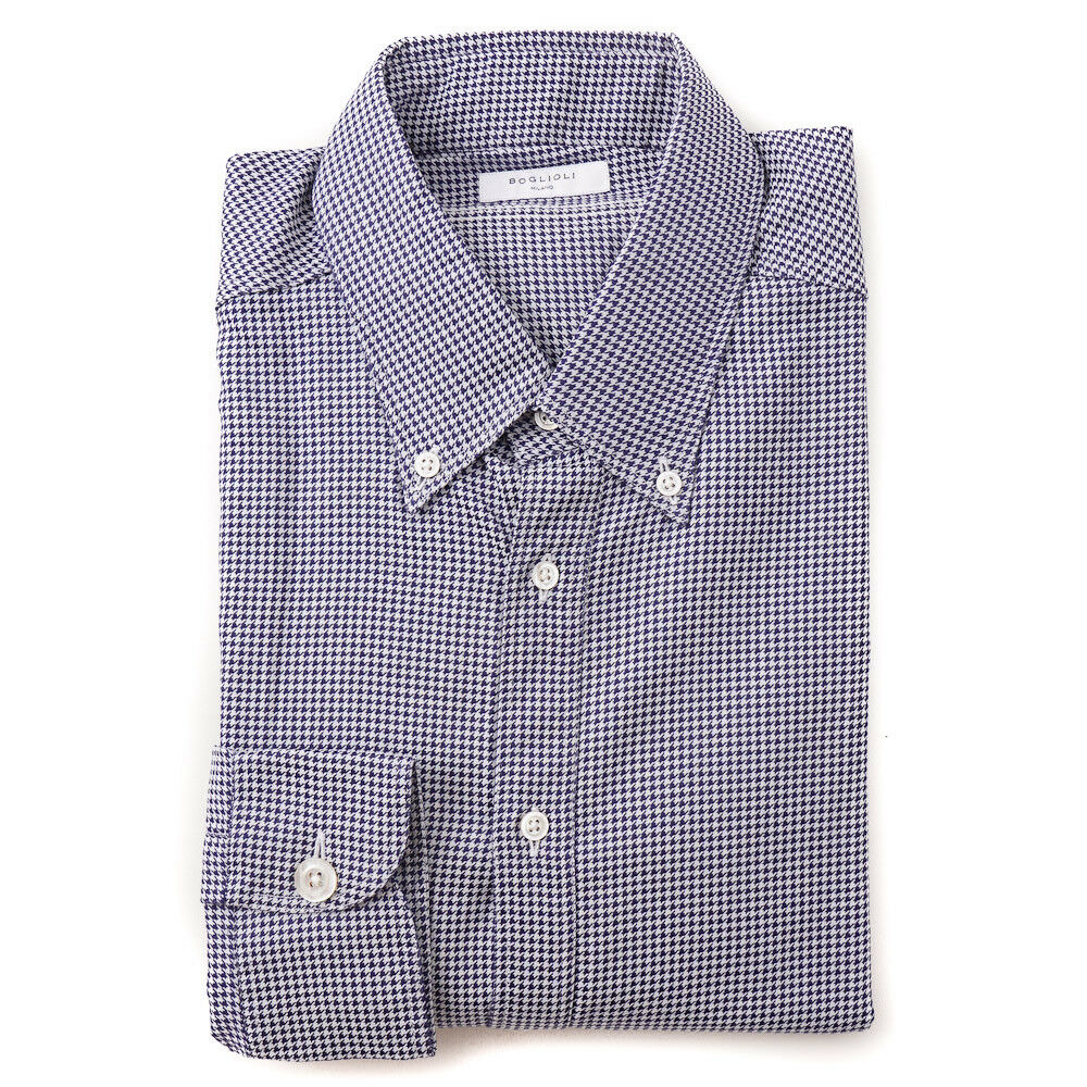NWT 400 BOGLIOLI Slim-Fit Navy and Weiß Houndstooth Cotton Shirt 16.5 x 36