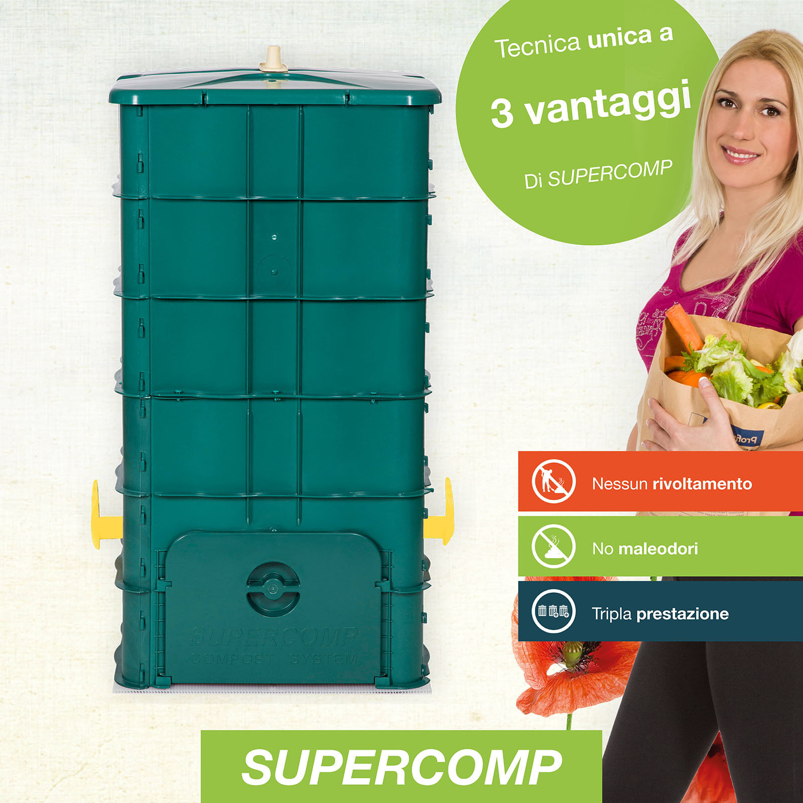 SUPERCOMP Composter - compostiera incl. piano d'appoggio - senza rivoltamento