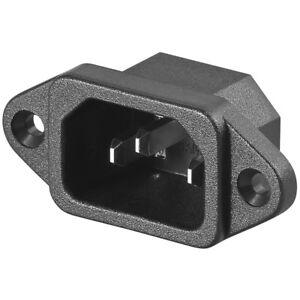 Strombuchse-Stromkupplung-230V-fuer-Kaltgeraete-zum-Einbau-Einbaubuchse-schwarz