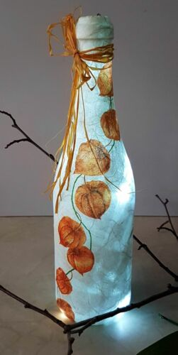 30cm ♦ 219 ♦ Dekoflasche Leuchtflasche Blumen Frühling Lampion Physalis ca