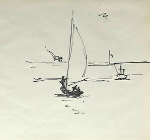 Francois Lanos Grand Dessin Original C 1950 Marine Bateau Voilier 28 Ebay