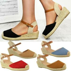 Details about Womens Ladies Low Wedge Heel Summer Sandals Strappy Espadrilles Shoes Size New