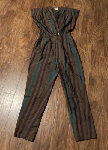 vintage eighties striped jumpsuit size small