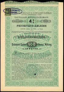 Autriche- gailthalbahn Arnoldstein-Hermagor- 4% prioritats-anleihe- 100 Gulden...-rmagor- 4% prioritats-anleihe- 100 gulden...afficher le titre d`origine