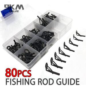 80Pcs Fishing Rod Parts Tip Top Repair Guides Sea Fishing Casting Repair Kit Rod