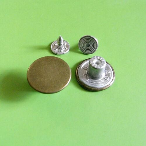 12 NO SEW Plain Metal Metallic Brass Press Tack Jean Oxidize Buttons 16.5mm G197