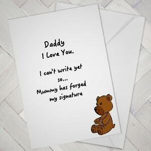 Image Is Loading Funny FATHERS DAY Birthday CARD From Baby Toddler