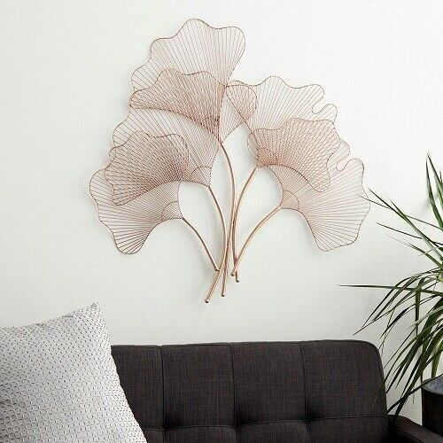 Contemporary Wall Decor Floral Leaf Sculpture Nature Wall Hanging Iron Wire Fan