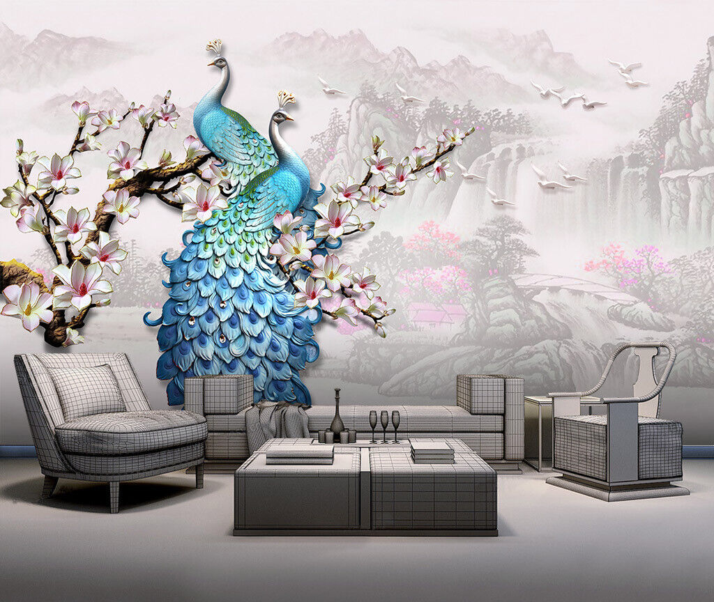 3D Blau Peacock N021 Wallpaper Wall Mural Removable Self-adhesive Sticker Amy